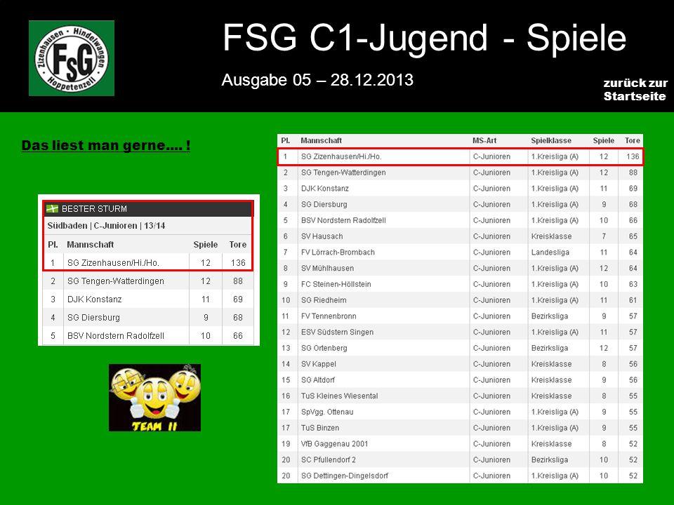 FSG E-Jugend - NEWS Ausgabe 4 – 28.11.2009 4 zurück zur Startseite FSG C1-Jugend - Spiele Ausgabe 05 – 28.12.2013 Das liest man gerne....