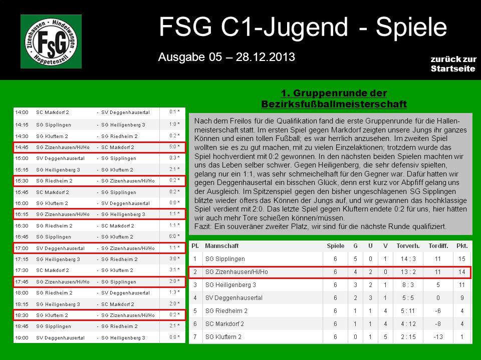 FSG E-Jugend - NEWS Ausgabe 4 – 28.11.2009 5 zurück zur Startseite FSG C1-Jugend - Spiele Ausgabe 05 – 28.12.2013 1.