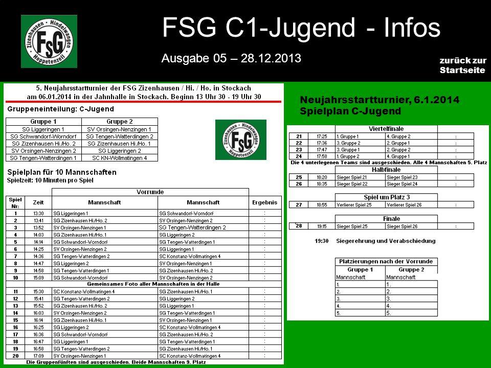 FSG E-Jugend - NEWS Ausgabe 4 – 28.11.2009 7 zurück zur Startseite FSG C1-Jugend - Infos Ausgabe 05 – 28.12.2013 Neujahrsstartturnier, 6.1.2014 Spielplan C-Jugend