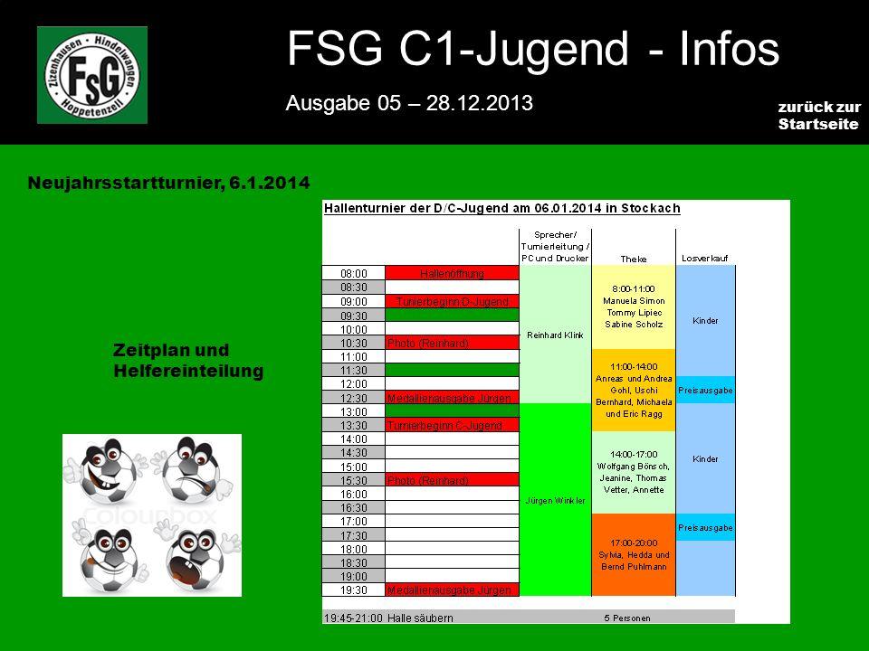 FSG E-Jugend - NEWS Ausgabe 4 – 28.11.2009 8 zurück zur Startseite FSG C1-Jugend - Infos Ausgabe 05 – 28.12.2013 Neujahrsstartturnier, 6.1.2014 Zeitplan und Helfereinteilung