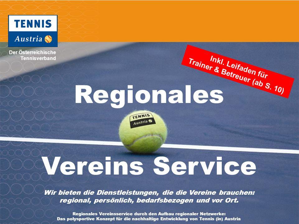 Der Österreichische Tennisverband Mag. Manfred Schmöller, Breitensport Tennis Austria & Mag. Harald Mair, Lehrreferat Tennis Austria 1 Regionales Vere