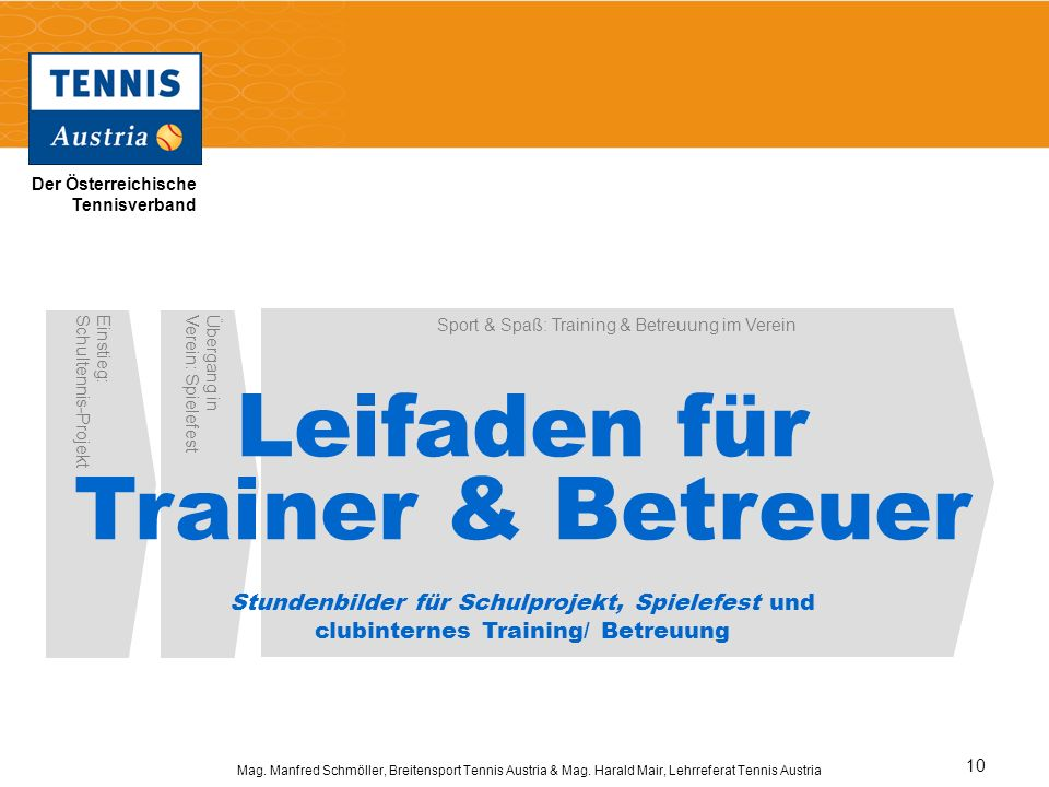 Der Österreichische Tennisverband Mag. Manfred Schmöller, Breitensport Tennis Austria & Mag. Harald Mair, Lehrreferat Tennis Austria 10 Einstieg:Schul