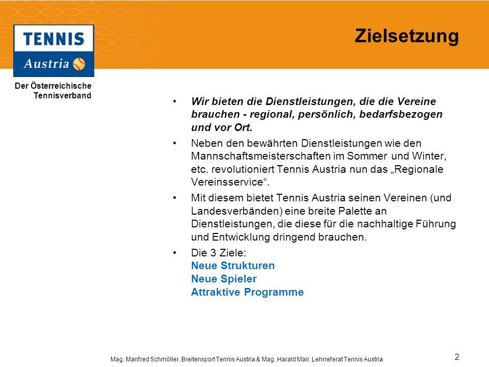Der Österreichische Tennisverband Mag. Manfred Schmöller, Breitensport Tennis Austria & Mag. Harald Mair, Lehrreferat Tennis Austria 2 Zielsetzung Wir