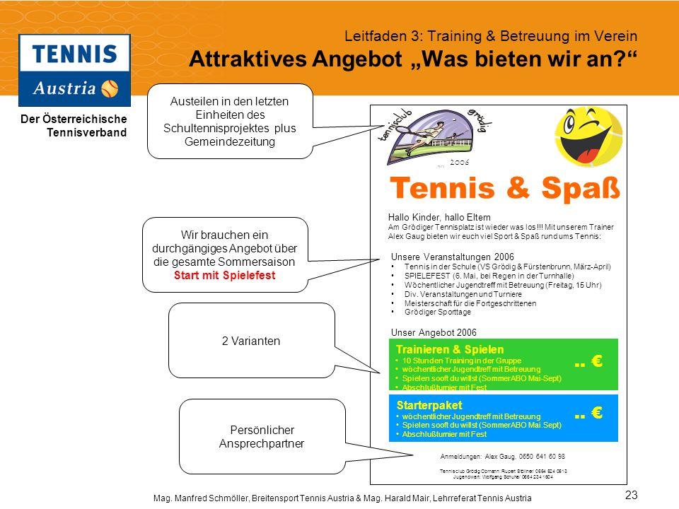 Der Österreichische Tennisverband Mag. Manfred Schmöller, Breitensport Tennis Austria & Mag. Harald Mair, Lehrreferat Tennis Austria 23 Leitfaden 3: T