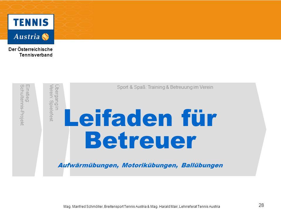 Der Österreichische Tennisverband Mag. Manfred Schmöller, Breitensport Tennis Austria & Mag. Harald Mair, Lehrreferat Tennis Austria 28 Einstieg:Schul
