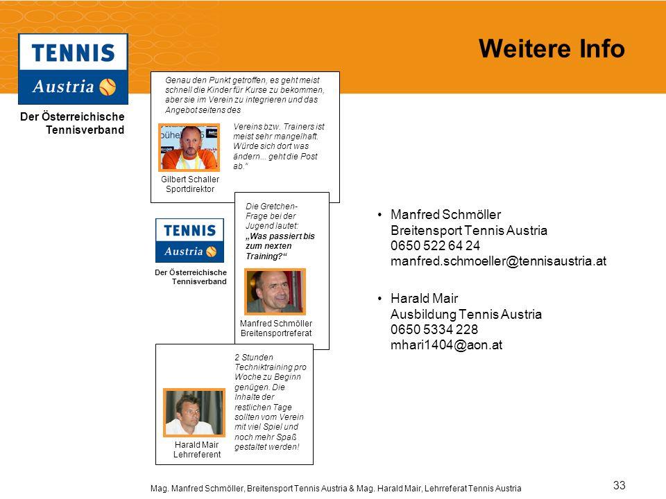 Der Österreichische Tennisverband Mag. Manfred Schmöller, Breitensport Tennis Austria & Mag. Harald Mair, Lehrreferat Tennis Austria 33 Weitere Info M