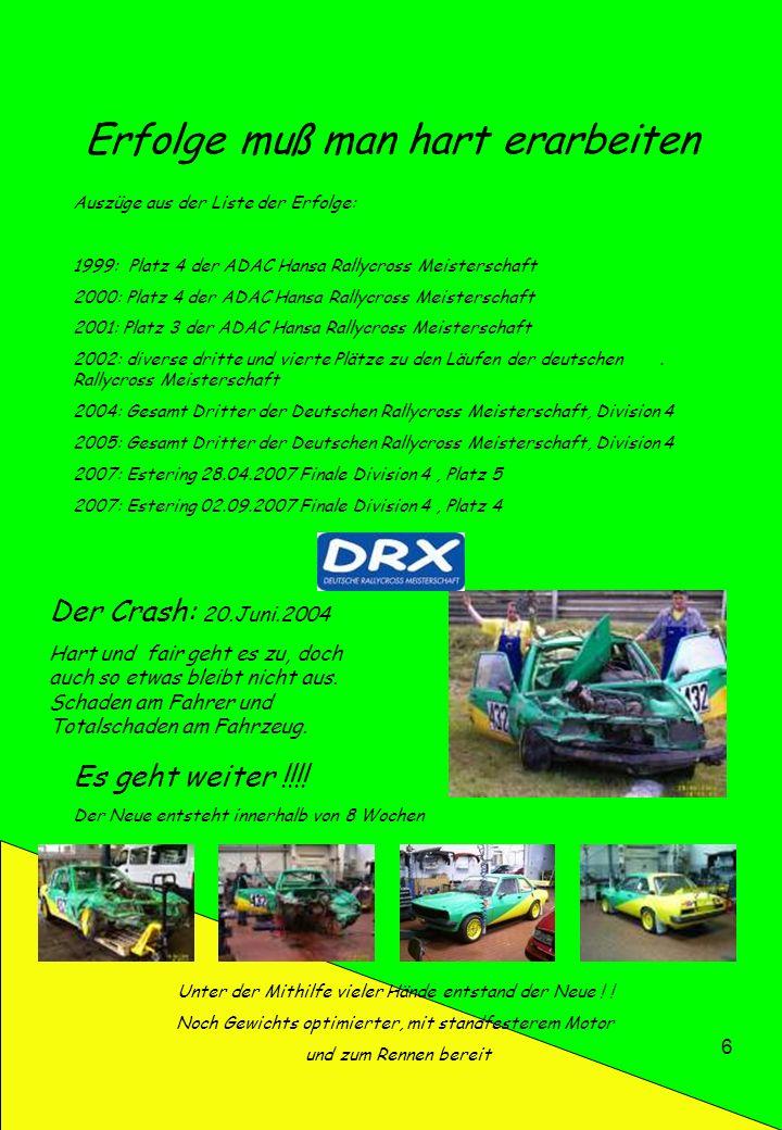 6 Erfolge muß man hart erarbeiten Der Crash: 20.Juni.2004 Hart und fair geht es zu, doch auch so etwas bleibt nicht aus. Schaden am Fahrer und Totalsc