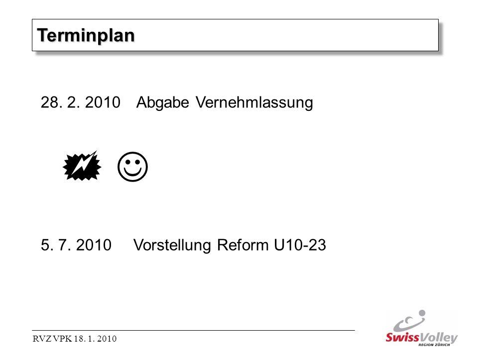 TerminplanTerminplan 28. 2. 2010Abgabe Vernehmlassung 5. 7. 2010 Vorstellung Reform U10-23