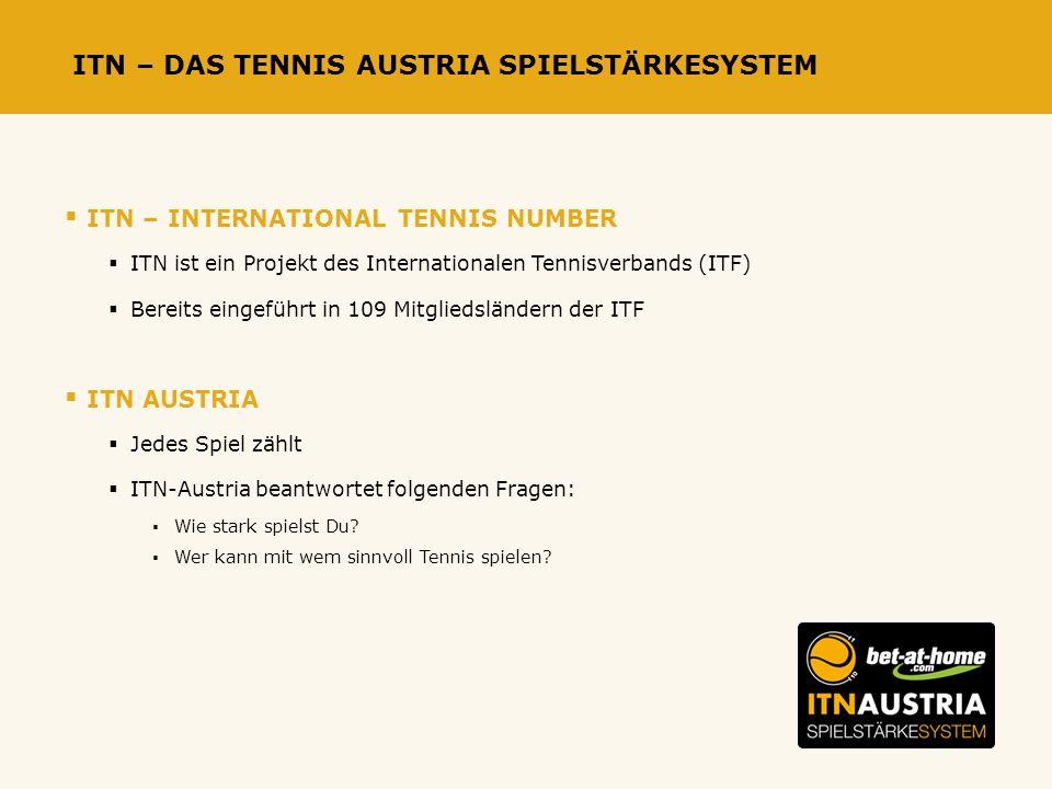 ITN – DAS TENNIS AUSTRIA SPIELSTÄRKESYSTEM ITN – INTERNATIONAL TENNIS NUMBER ITN ist ein Projekt des Internationalen Tennisverbands (ITF) Bereits eingeführt in 109 Mitgliedsländern der ITF ITN AUSTRIA Jedes Spiel zählt ITN-Austria beantwortet folgenden Fragen: Wie stark spielst Du.