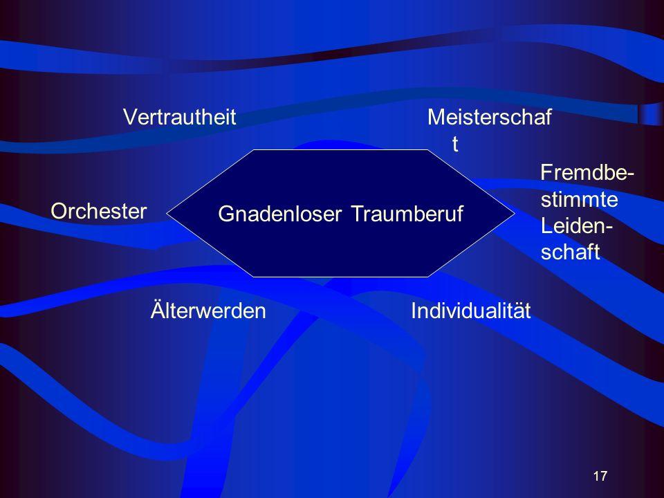 17 VertrautheitMeisterschaf t ÄlterwerdenIndividualität Gnadenloser Traumberuf Fremdbe- stimmte Leiden- schaft Orchester