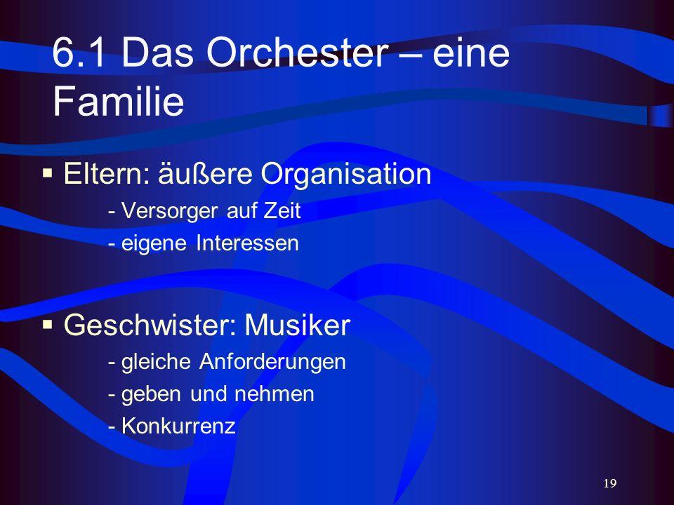 19 6.1 Das Orchester – eine Familie Eltern: äußere Organisation - Versorger auf Zeit - eigene Interessen Geschwister: Musiker - gleiche Anforderungen - geben und nehmen - Konkurrenz