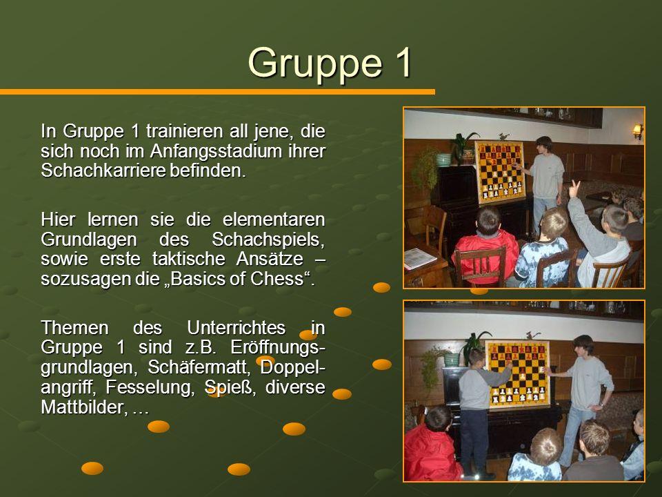 Gruppe 2 Auf den erlernten Grundlagen aufbauend, wollen wir in dieser Gruppe unseren fortgeschrittenen Schachschüler weitere taktische und strategische Inhalte vermitteln.