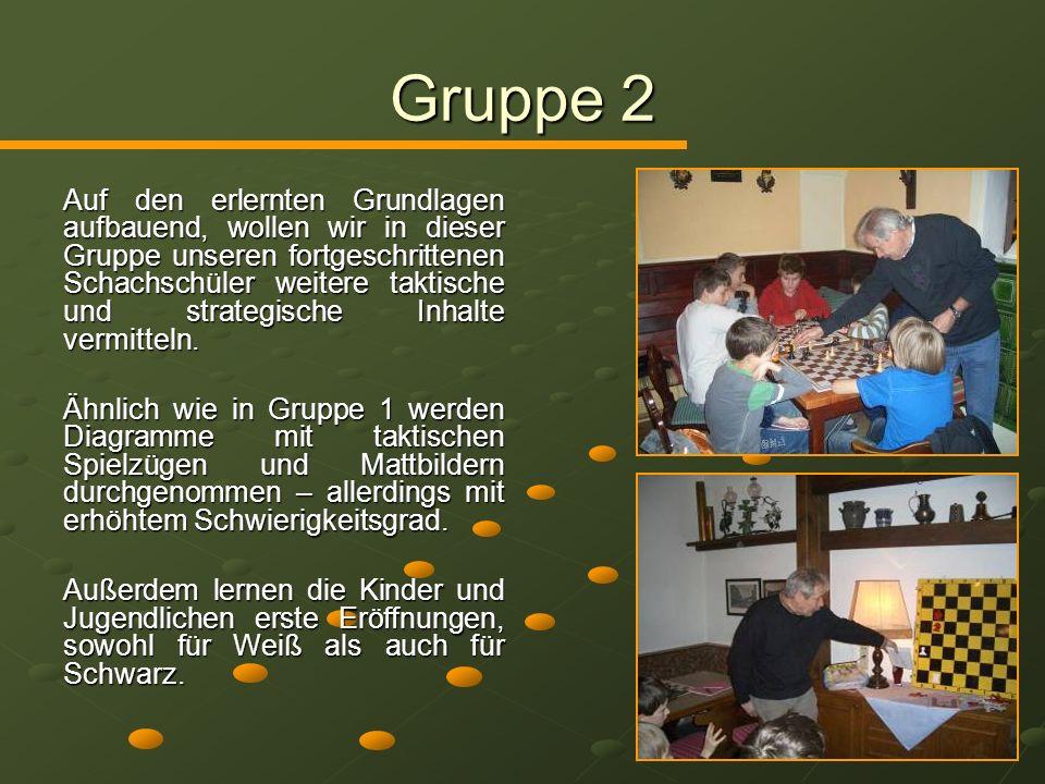 Gruppe 2 Auf den erlernten Grundlagen aufbauend, wollen wir in dieser Gruppe unseren fortgeschrittenen Schachschüler weitere taktische und strategisch