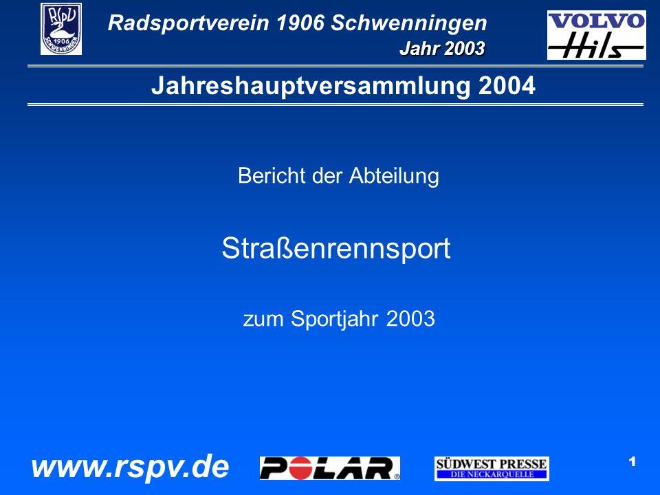 Radsportverein 1906 Schwenningen Jahr 2003 www.rspv.de 1 Jahreshauptversammlung 2004 Bericht der Abteilung Straßenrennsport zum Sportjahr 2003