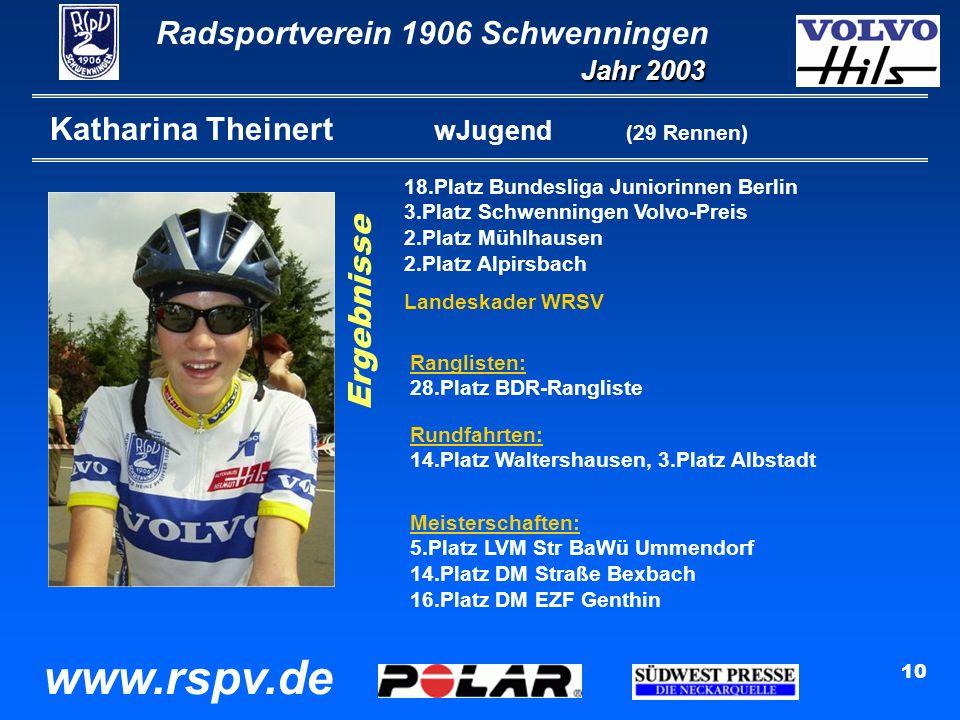 Radsportverein 1906 Schwenningen Jahr 2003 www.rspv.de 10 Katharina Theinert wJugend (29 Rennen) 18.Platz Bundesliga Juniorinnen Berlin 3.Platz Schwenningen Volvo-Preis 2.Platz Mühlhausen 2.Platz Alpirsbach Landeskader WRSV Ergebnisse Ranglisten: 28.Platz BDR-Rangliste Rundfahrten: 14.Platz Waltershausen, 3.Platz Albstadt Meisterschaften: 5.Platz LVM Str BaWü Ummendorf 14.Platz DM Straße Bexbach 16.Platz DM EZF Genthin