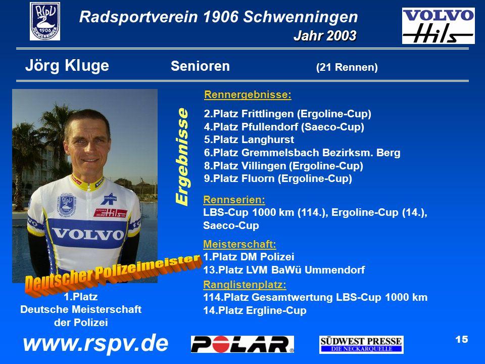 Radsportverein 1906 Schwenningen Jahr 2003 www.rspv.de 15 Jörg Kluge Senioren (21 Rennen) Rennergebnisse: 2.Platz Frittlingen (Ergoline-Cup) 4.Platz Pfullendorf (Saeco-Cup) 5.Platz Langhurst 6.Platz Gremmelsbach Bezirksm.