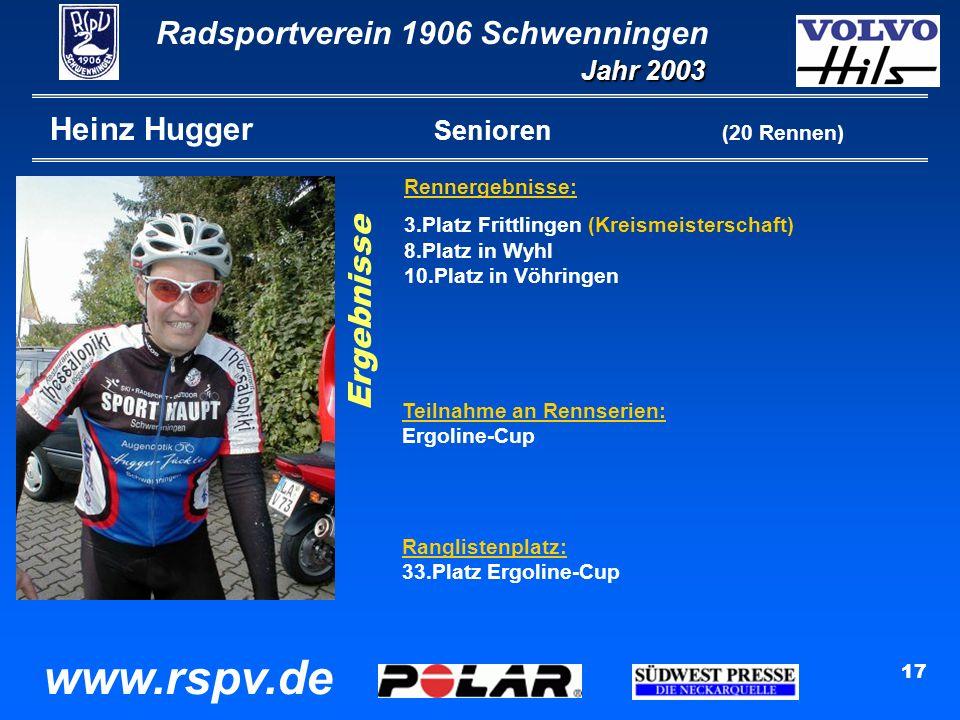 Radsportverein 1906 Schwenningen Jahr 2003 www.rspv.de 17 Heinz Hugger Senioren (20 Rennen) Rennergebnisse: 3.Platz Frittlingen (Kreismeisterschaft) 8.Platz in Wyhl 10.Platz in Vöhringen Ergebnisse Teilnahme an Rennserien: Ergoline-Cup Ranglistenplatz: 33.Platz Ergoline-Cup