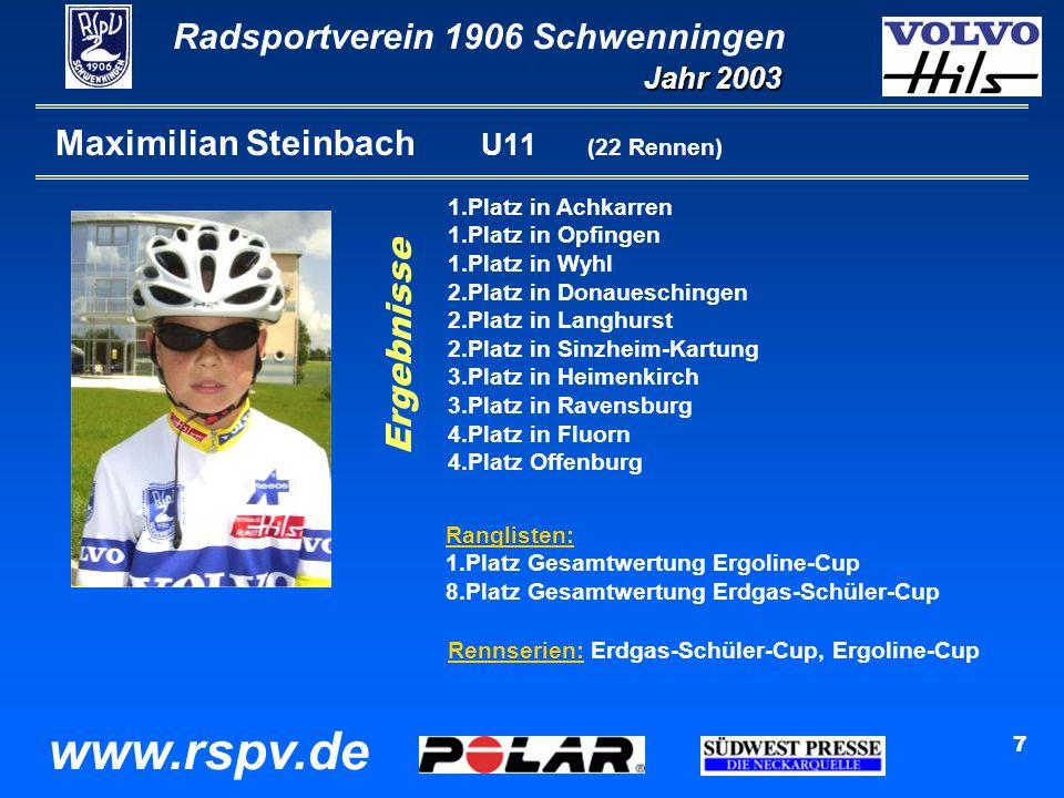 Radsportverein 1906 Schwenningen Jahr 2003 www.rspv.de 7 Maximilian Steinbach U11 (22 Rennen) 1.Platz in Achkarren 1.Platz in Opfingen 1.Platz in Wyhl 2.Platz in Donaueschingen 2.Platz in Langhurst 2.Platz in Sinzheim-Kartung 3.Platz in Heimenkirch 3.Platz in Ravensburg 4.Platz in Fluorn 4.Platz Offenburg Ranglisten: 1.Platz Gesamtwertung Ergoline-Cup 8.Platz Gesamtwertung Erdgas-Schüler-Cup Rennserien: Erdgas-Schüler-Cup, Ergoline-Cup Ergebnisse