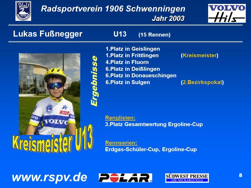 Radsportverein 1906 Schwenningen Jahr 2003 www.rspv.de 8 Lukas Fußnegger U13 (15 Rennen) 1.Platz in Geislingen 1.Platz in Frittlingen(Kreismeister) 4.Platz in Fluorn 6.Platz in Deißlingen 6.Platz in Donaueschingen 6.Platz in Sulgen(2.Bezirkspokal) Ranglisten: 3.Platz Gesamtwertung Ergoline-Cup Rennserien: Erdgas-Schüler-Cup, Ergoline-Cup Ergebnisse