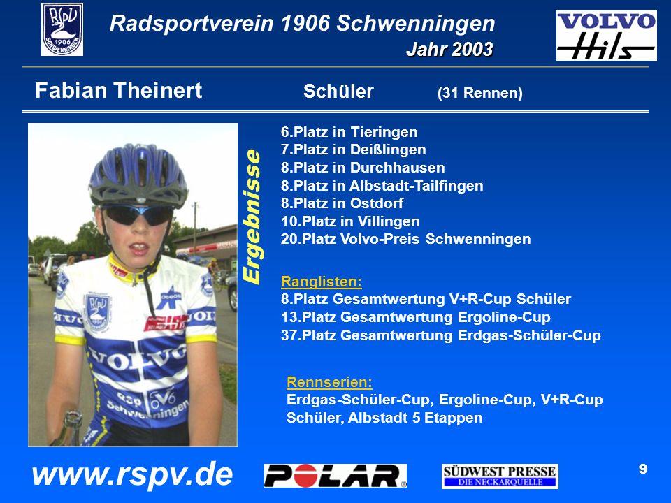 Radsportverein 1906 Schwenningen Jahr 2003 www.rspv.de 9 Fabian Theinert Schüler (31 Rennen) 6.Platz in Tieringen 7.Platz in Deißlingen 8.Platz in Durchhausen 8.Platz in Albstadt-Tailfingen 8.Platz in Ostdorf 10.Platz in Villingen 20.Platz Volvo-Preis Schwenningen Ranglisten: 8.Platz Gesamtwertung V+R-Cup Schüler 13.Platz Gesamtwertung Ergoline-Cup 37.Platz Gesamtwertung Erdgas-Schüler-Cup Rennserien: Erdgas-Schüler-Cup, Ergoline-Cup, V+R-Cup Schüler, Albstadt 5 Etappen Ergebnisse