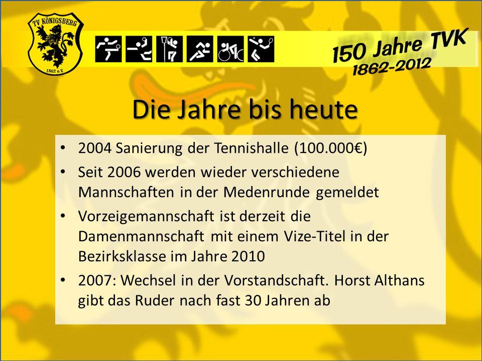 Die Jahre bis heute 2004 Sanierung der Tennishalle (100.000) Seit 2006 werden wieder verschiedene Mannschaften in der Medenrunde gemeldet Vorzeigemannschaft ist derzeit die Damenmannschaft mit einem Vize-Titel in der Bezirksklasse im Jahre 2010 2007: Wechsel in der Vorstandschaft.