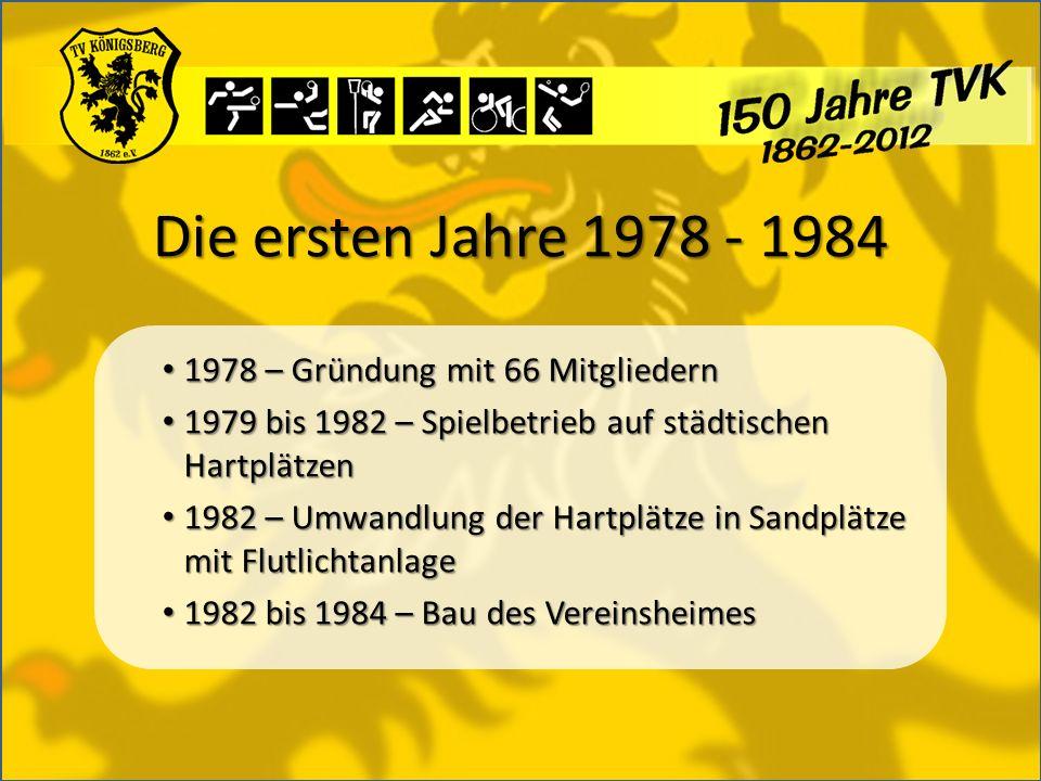 Die ersten Jahre 1978 - 1984 1978 – Gründung mit 66 Mitgliedern 1978 – Gründung mit 66 Mitgliedern 1979 bis 1982 – Spielbetrieb auf städtischen Hartpl