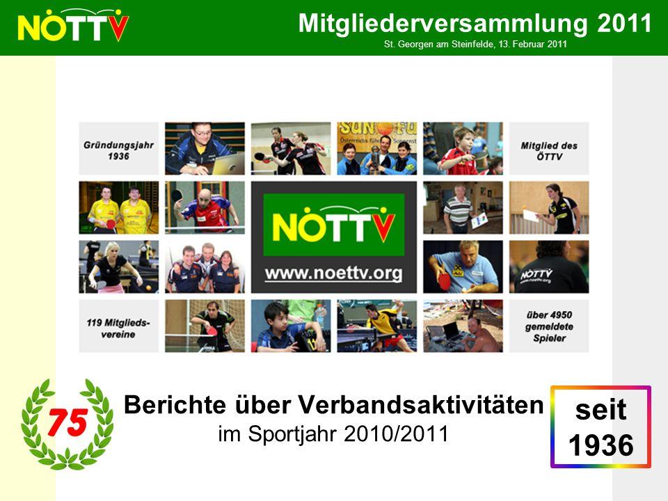 Mitgliederversammlung 2011 St. Georgen am Steinfelde, 13. Februar 2011 Berichte über Verbandsaktivitäten im Sportjahr 2010/2011 seit 1936