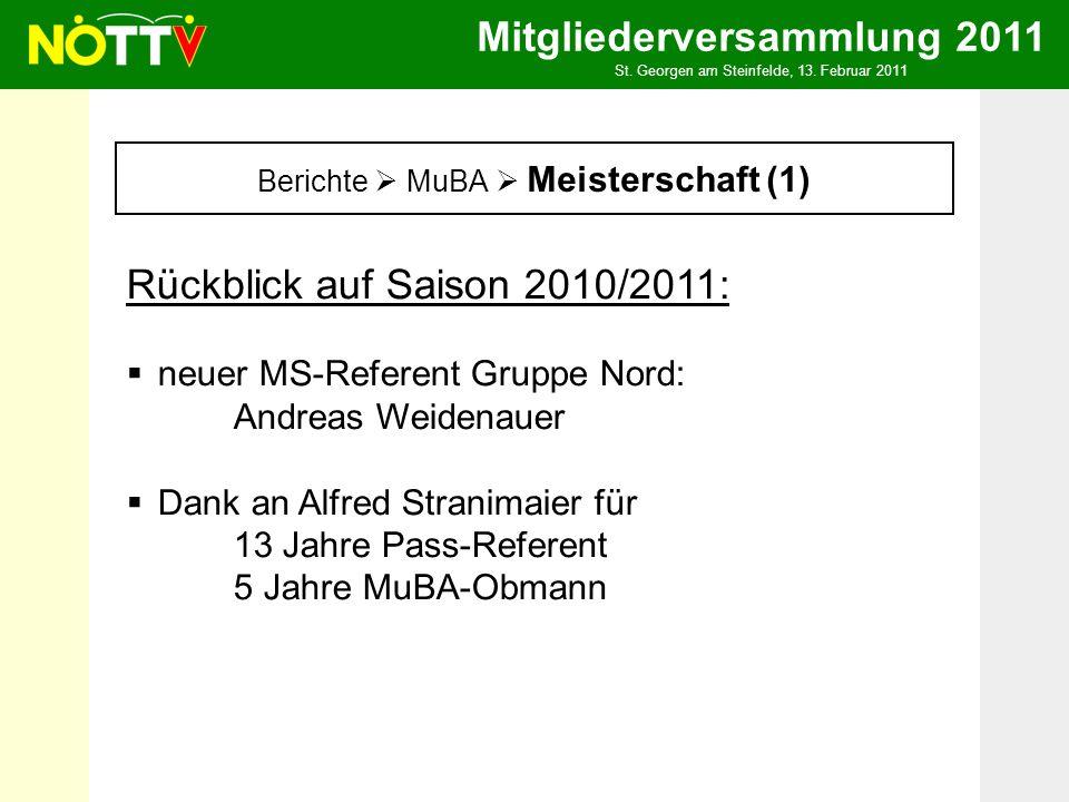 Mitgliederversammlung 2011 St. Georgen am Steinfelde, 13. Februar 2011 Berichte MuBA Meisterschaft (1) Rückblick auf Saison 2010/2011: neuer MS-Refere