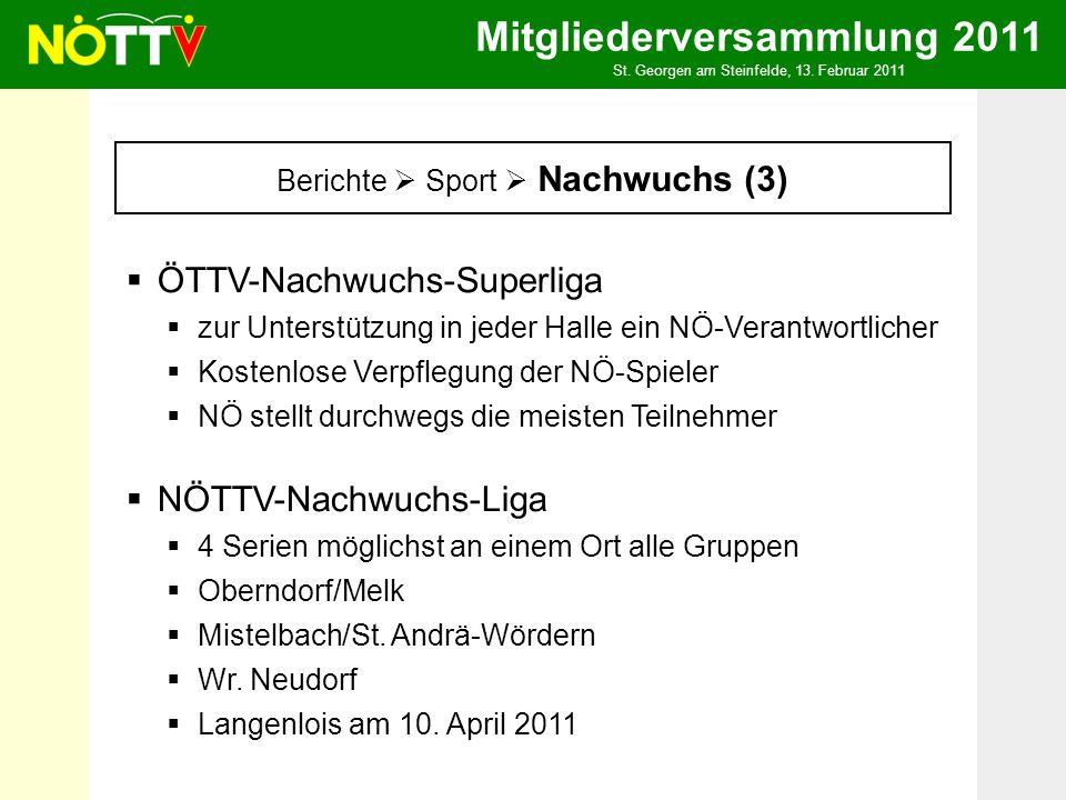 Mitgliederversammlung 2011 St. Georgen am Steinfelde, 13. Februar 2011 Berichte Sport Nachwuchs (3) ÖTTV-Nachwuchs-Superliga zur Unterstützung in jede