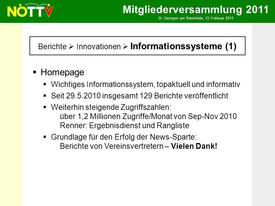 Mitgliederversammlung 2011 St. Georgen am Steinfelde, 13. Februar 2011 Berichte Innovationen Informationssysteme (1) Homepage Wichtiges Informationssy