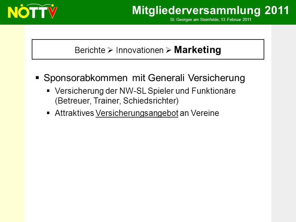 Mitgliederversammlung 2011 St. Georgen am Steinfelde, 13. Februar 2011 Berichte Innovationen Marketing Sponsorabkommen mit Generali Versicherung Versi