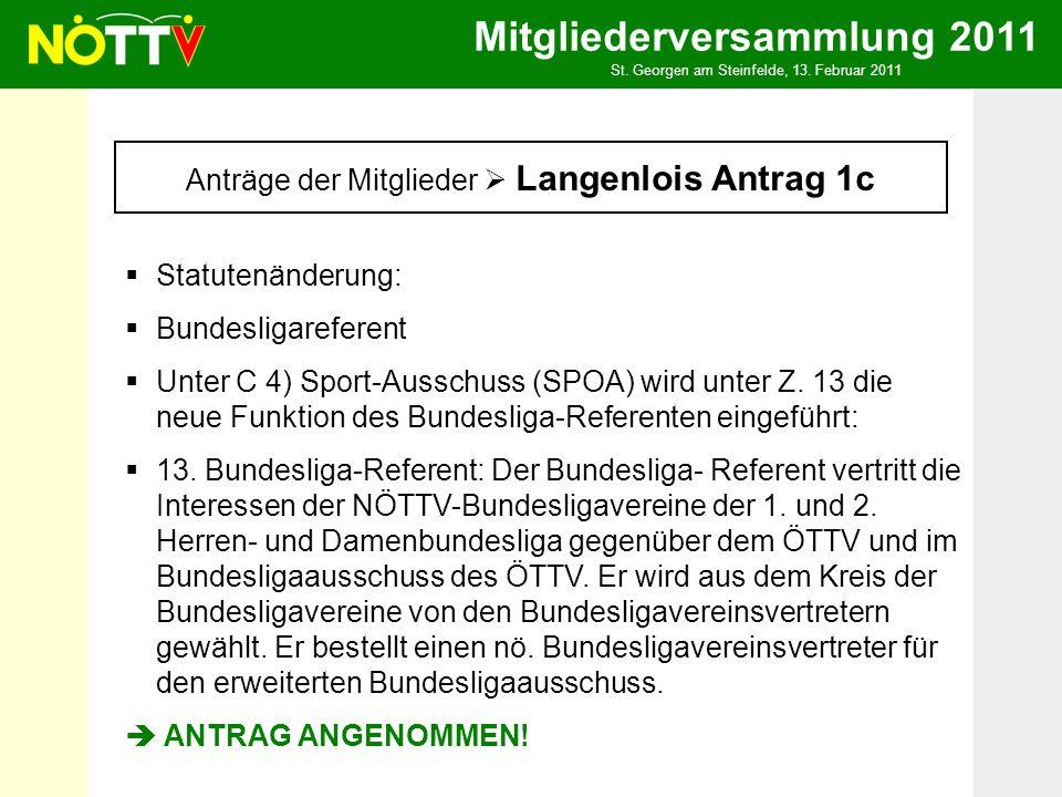 Mitgliederversammlung 2011 St. Georgen am Steinfelde, 13. Februar 2011 Anträge der Mitglieder Langenlois Antrag 1c Statutenänderung: Bundesligareferen