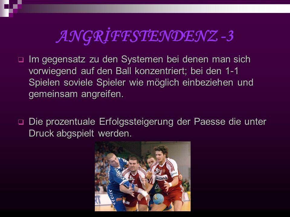 ANGRİFFSTENDENZ -3 Im gegensatz zu den Systemen bei denen man sich vorwiegend auf den Ball konzentriert; bei den 1-1 Spielen soviele Spieler wie möglich einbeziehen und gemeinsam angreifen.