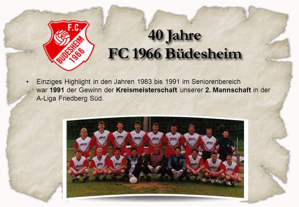 Einziges Highlight in den Jahren 1983 bis 1991 im Seniorenbereich war 1991 der Gewinn der Kreismeisterschaft unserer 2. Mannschaft in der A-Liga Fried