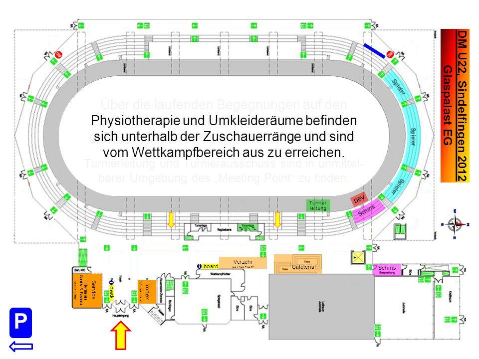 DM U22, Sindelfingen 2012 Glaspalast UG Physiotherapie und Umkleideräume befinden sich unterhalb der Zuschauerränge und sind vom Wettkampfbereich aus zu erreichen.