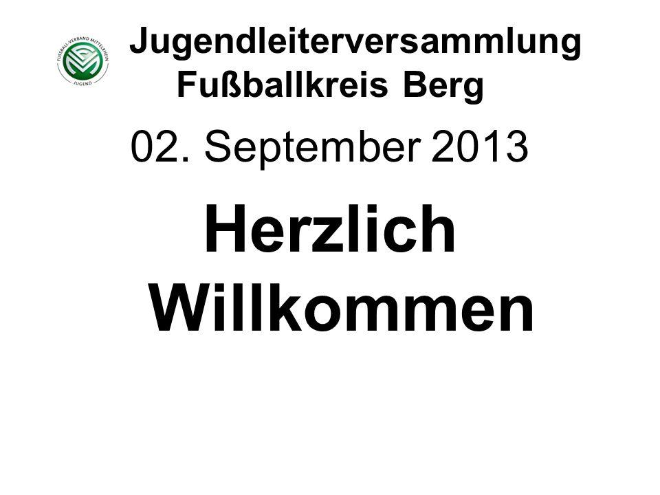 Jugendleiterversammlung Fußballkreis Berg 02. September 2013 Herzlich Willkommen