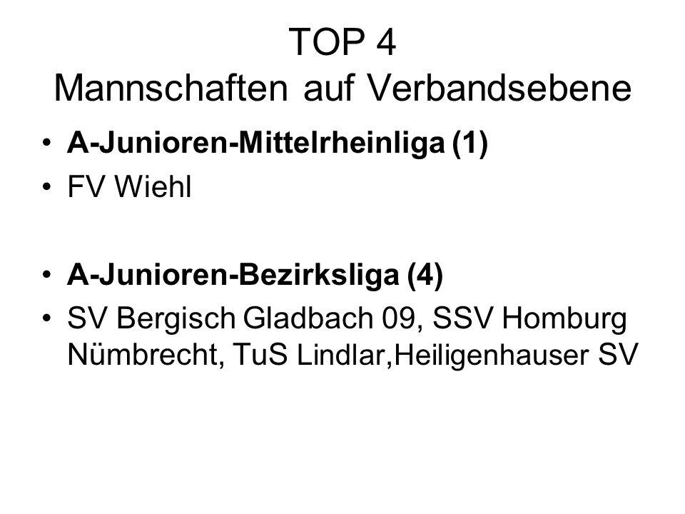 TOP 4 Mannschaften auf Verbandsebene A-Junioren-Mittelrheinliga (1) FV Wiehl A-Junioren-Bezirksliga (4) SV Bergisch Gladbach 09, SSV Homburg Nümbrecht