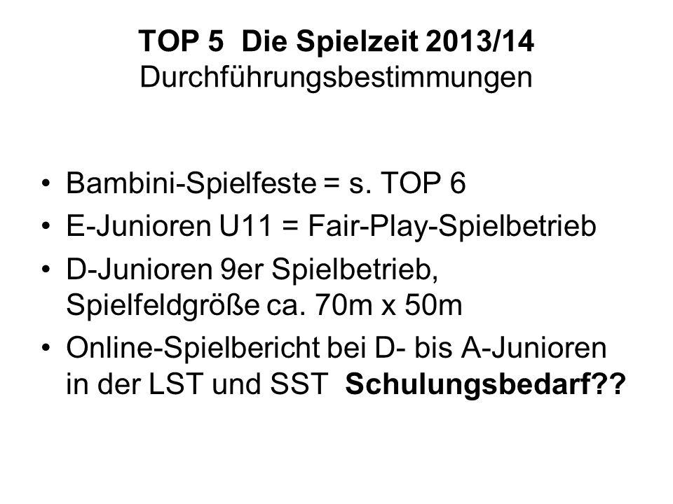 TOP 5 Die Spielzeit 2013/14 Durchführungsbestimmungen Bambini-Spielfeste = s. TOP 6 E-Junioren U11 = Fair-Play-Spielbetrieb D-Junioren 9er Spielbetrie