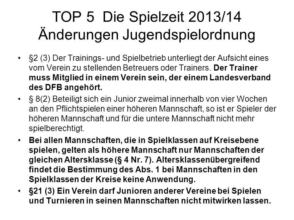 TOP 5 Die Spielzeit 2013/14 Änderungen Jugendspielordnung §2 (3) Der Trainings- und Spielbetrieb unterliegt der Aufsicht eines vom Verein zu stellende