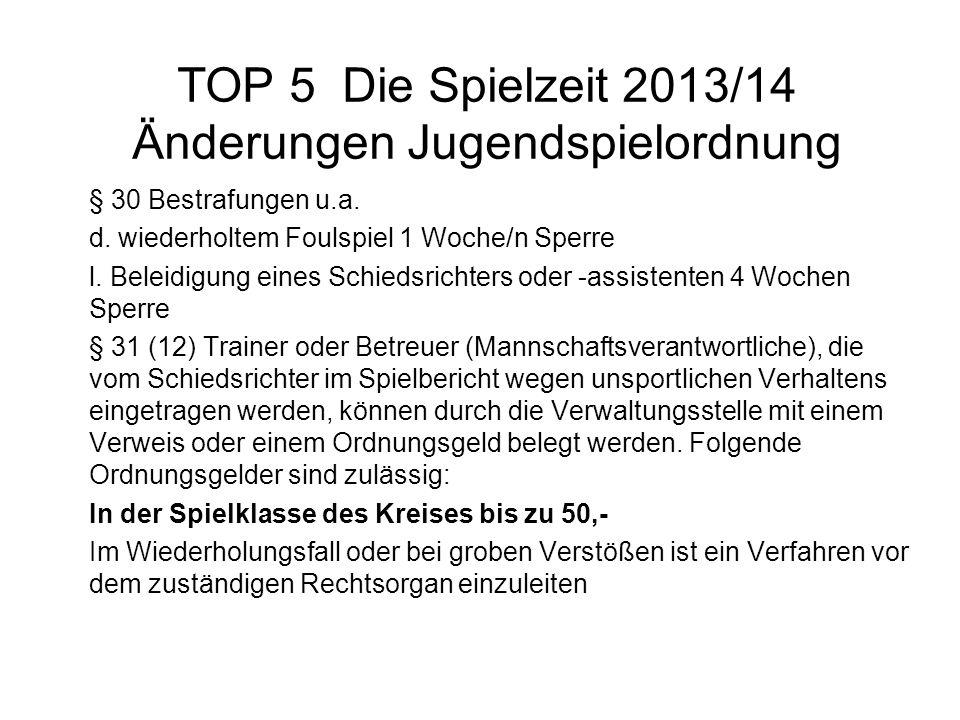 TOP 5 Die Spielzeit 2013/14 Änderungen Jugendspielordnung § 30 Bestrafungen u.a. d. wiederholtem Foulspiel 1 Woche/n Sperre l. Beleidigung eines Schie