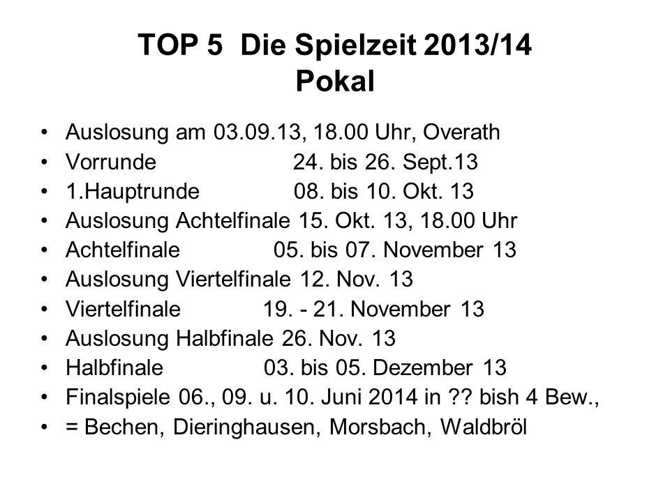 TOP 5 Die Spielzeit 2013/14 Pokal Auslosung am 03.09.13, 18.00 Uhr, Overath Vorrunde 24. bis 26. Sept.13 1.Hauptrunde 08. bis 10. Okt. 13 Auslosung Ac