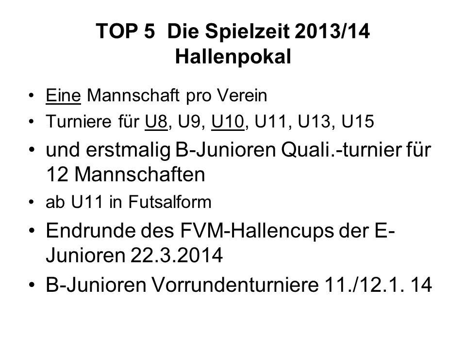 TOP 5 Die Spielzeit 2013/14 Hallenpokal Eine Mannschaft pro Verein Turniere für U8, U9, U10, U11, U13, U15 und erstmalig B-Junioren Quali.-turnier für