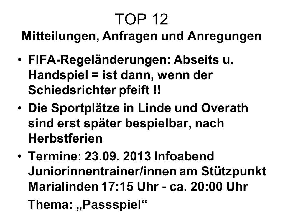 TOP 12 Mitteilungen, Anfragen und Anregungen FIFA-Regeländerungen: Abseits u. Handspiel = ist dann, wenn der Schiedsrichter pfeift !! Die Sportplätze