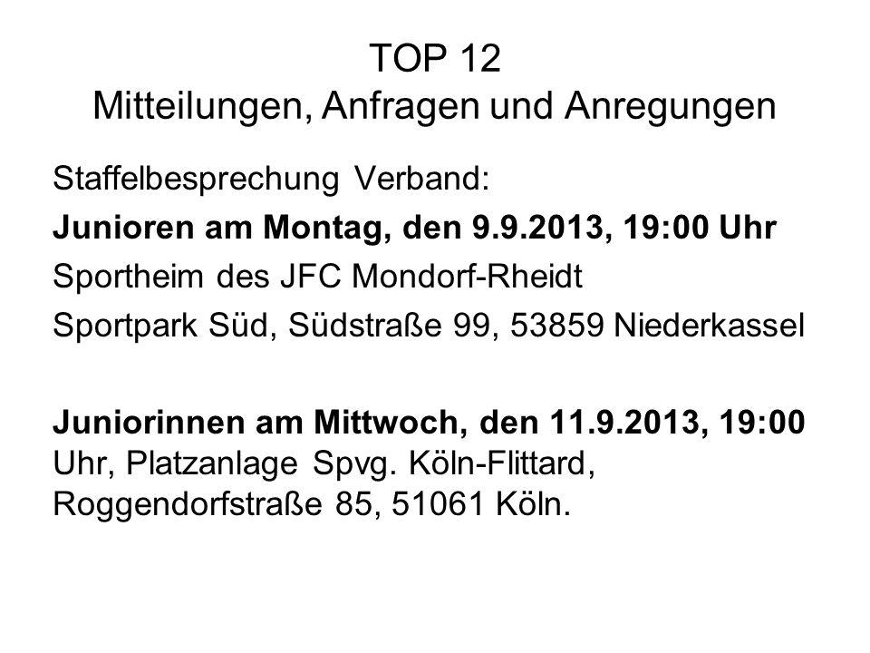 TOP 12 Mitteilungen, Anfragen und Anregungen Staffelbesprechung Verband: Junioren am Montag, den 9.9.2013, 19:00 Uhr Sportheim des JFC Mondorf-Rheidt