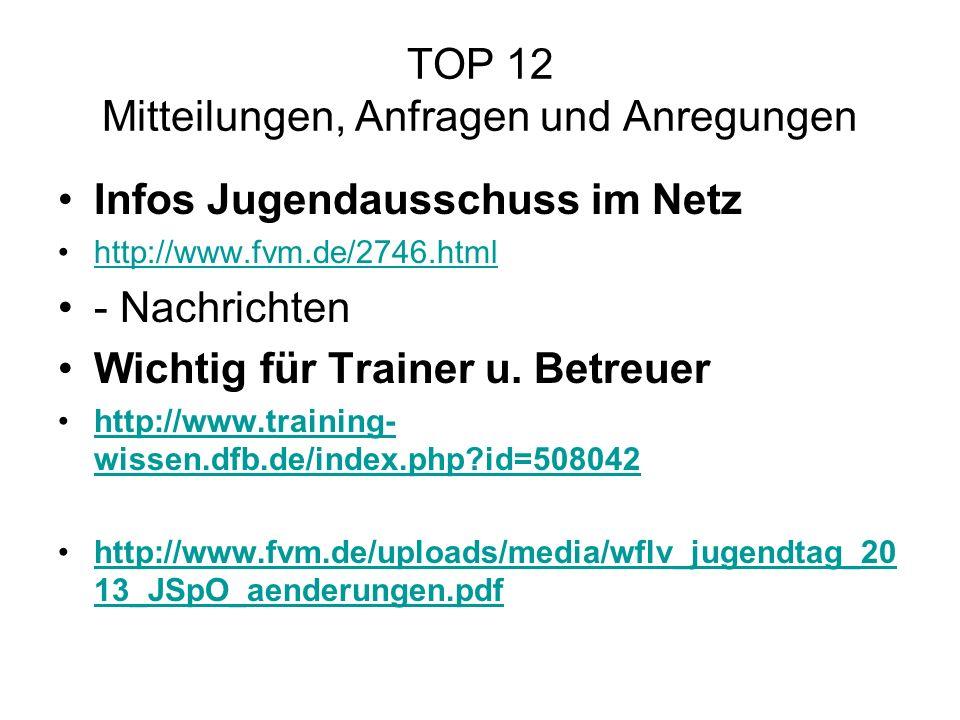 TOP 12 Mitteilungen, Anfragen und Anregungen Infos Jugendausschuss im Netz http://www.fvm.de/2746.html - Nachrichten Wichtig für Trainer u. Betreuer h