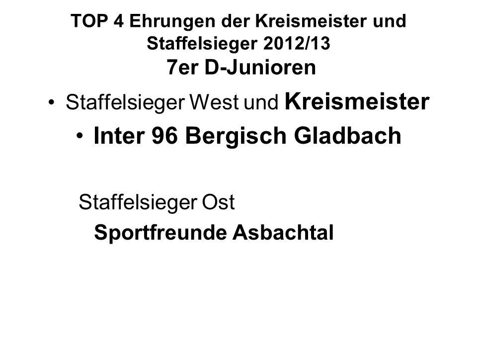 TOP 4 Ehrungen der Kreismeister und Staffelsieger 2012/13 7er D-Junioren Staffelsieger West und Kreismeister Inter 96 Bergisch Gladbach Staffelsieger