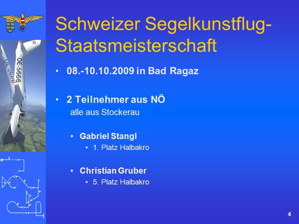 Schweizer Segelkunstflug- Staatsmeisterschaft 08.-10.10.2009 in Bad Ragaz 2 Teilnehmer aus NÖ alle aus Stockerau Gabriel Stangl 1.