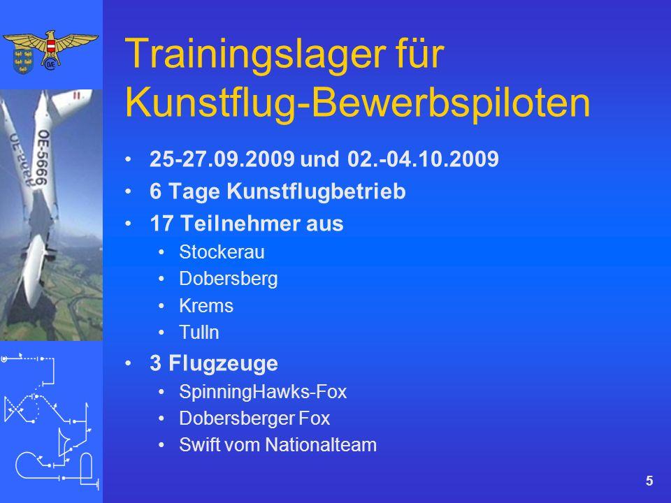 Trainingslager für Kunstflug-Bewerbspiloten 25-27.09.2009 und 02.-04.10.2009 6 Tage Kunstflugbetrieb 17 Teilnehmer aus Stockerau Dobersberg Krems Tulln 3 Flugzeuge SpinningHawks-Fox Dobersberger Fox Swift vom Nationalteam 5
