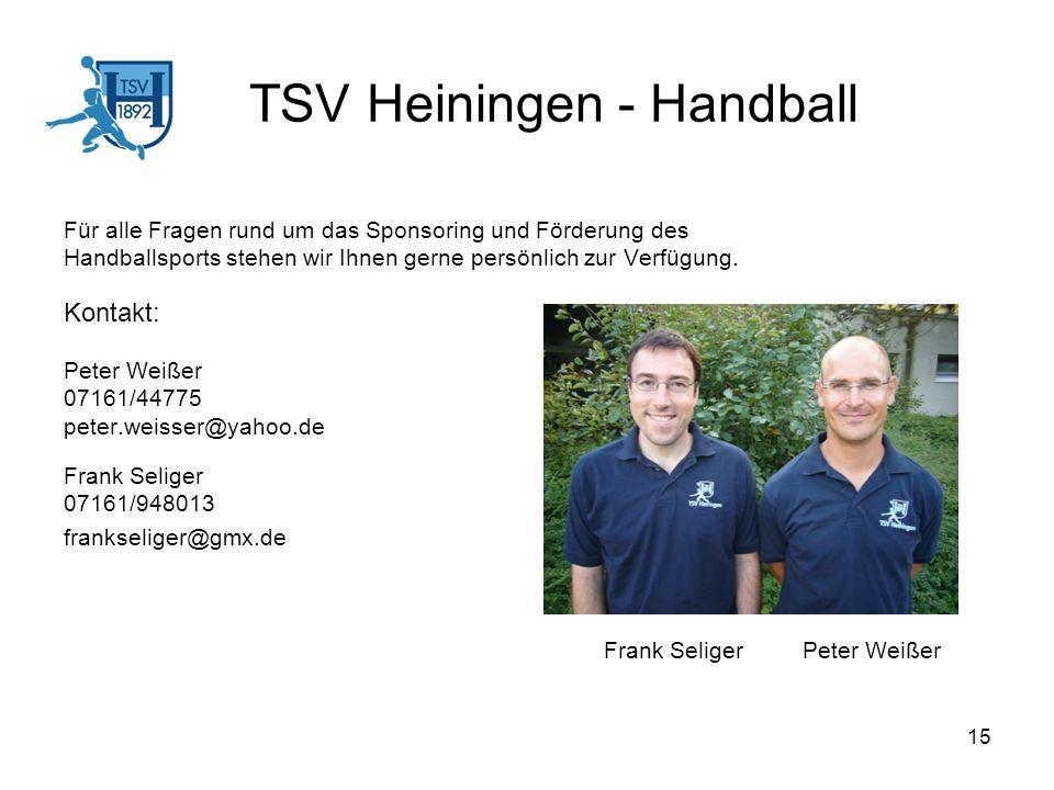 15 TSV Heiningen - Handball Für alle Fragen rund um das Sponsoring und Förderung des Handballsports stehen wir Ihnen gerne persönlich zur Verfügung. K