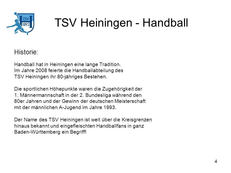 4 TSV Heiningen - Handball Historie: Handball hat in Heiningen eine lange Tradition. Im Jahre 2008 feierte die Handballabteilung des TSV Heiningen ihr